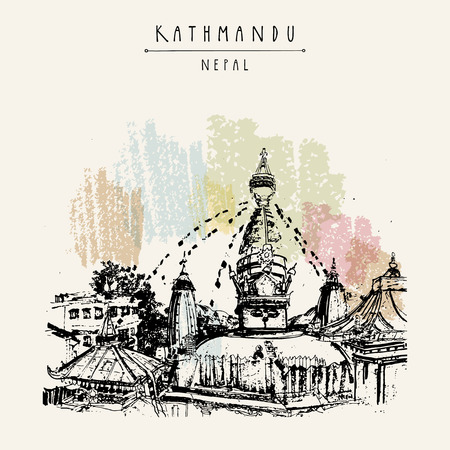 himalaya: Swayambhu temple in Kathmandu, Nepal, before the earthquake. Travel sketch. Artistic hand drawing. Vintage touristic postcard, poster, book illustration in vector