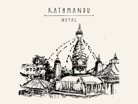 stupa: Swayambhu temple in Kathmandu, Nepal, before the earthquake. Travel sketch. Artistic hand drawing. Vintage touristic postcard, poster, book illustration in vector