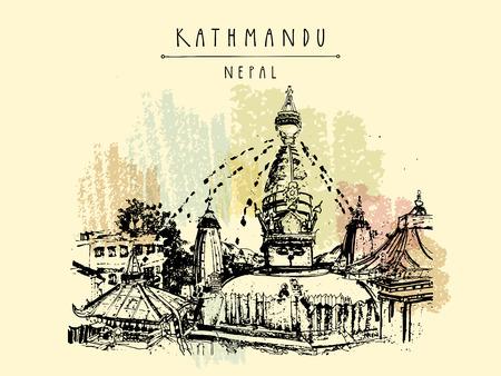 shanti: Swayambhu temple in Kathmandu, Nepal, before the earthquake. Travel sketch. Artistic hand drawing. Vintage touristic postcard, poster, book illustration in vector