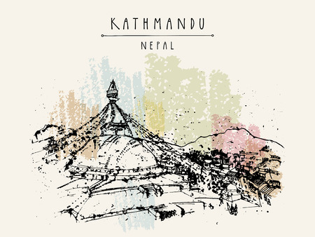bodnath: Boudhnath, Tibetan temple in Kathmandu, Nepal, Asia. Travel sketch. Vintage hand drawn touristic postcard, poster, book illustration in vector