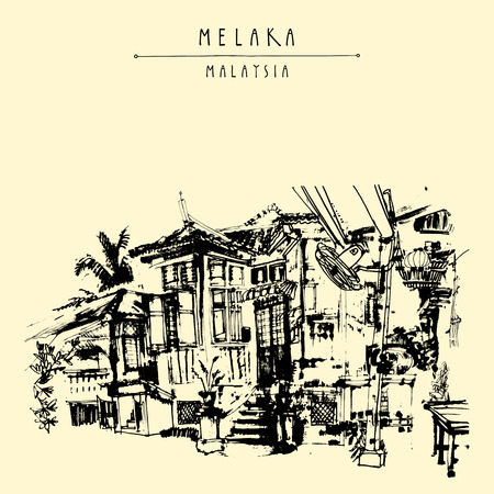 southeast asia: An old Chinese wooden house in Melaka, Malaysia, Southeast Asia. Travel sketch. Hand drawn touristic vintage postcard, poster or book illustration in vector