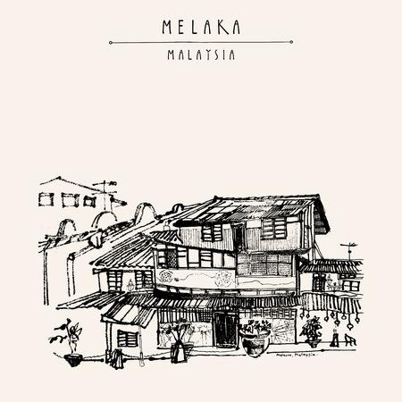 Häuser auf dem Fluss in Melaka, Malaysia, Südostasien. Kolonialbauten. Reise Skizze. Weinlese-touristische Hand gezeichnete Postkarte in Vektor Standard-Bild - 64118066