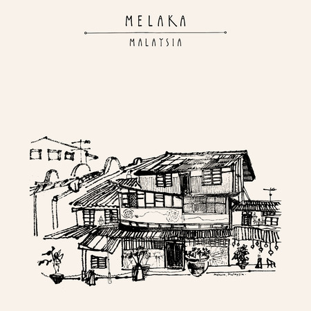 Houses on the river in Melaka, Malaysia, Southeast Asia. Colonial buildings. Travel sketch. Vintage touristic hand drawn postcard in vector