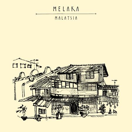 Häuser auf dem Fluss in Melaka, Malaysia, Südostasien. Kolonialbauten. Reise Skizze. Weinlese-touristische Hand gezeichnete Postkarte in Vektor Standard-Bild - 64118069