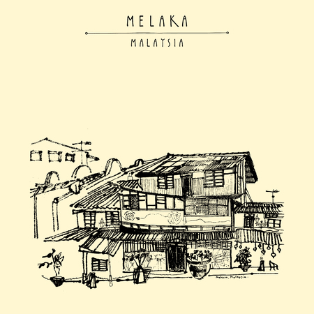 southeast: Houses on the river in Melaka, Malaysia, Southeast Asia. Colonial buildings. Travel sketch. Vintage touristic hand drawn postcard in vector