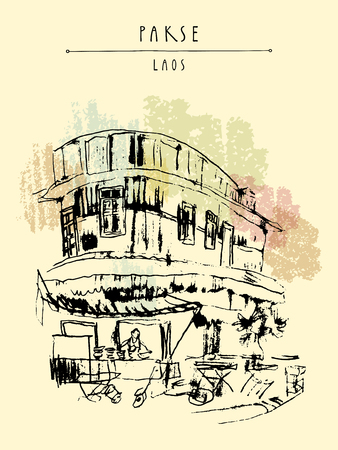 laotian: Street corner, local restaurant in old French part of Pakse, Laos, Southeast Asia. Travel sketch. Vintage hand drawn touristic postcard in vector Illustration