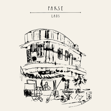 Street corner, local restaurant in old French part of Pakse, Laos, Southeast Asia. Travel sketch. Vintage hand drawn touristic postcard in vector Illustration