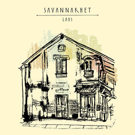 tranquil scene on urban scene: Old building in Savannakhet, former French colonial town, Laos, Southeast Asia. Travel sketch. Vintage hand drawn touristic postcard, poster or book illustration in vector
