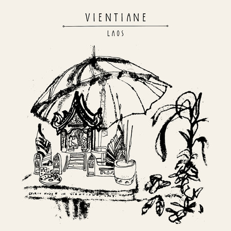 southeast: Spirit house in Vientiane, Laos, Southeast Asia. Vintage hand drawn touristic postcard, poster or book illustration in vector