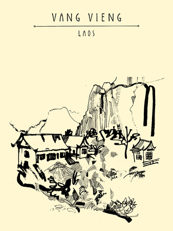 southeast asia: Mountains, riverside and a guesthouse in Vang Vieng, Laos, Southeast Asia. Vintage hand drawn touristic postcard in vector