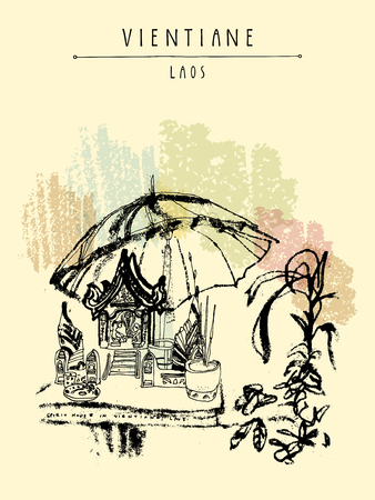 southeast: Laos, Southeast Asia. Vintage hand drawn touristic postcard in vector