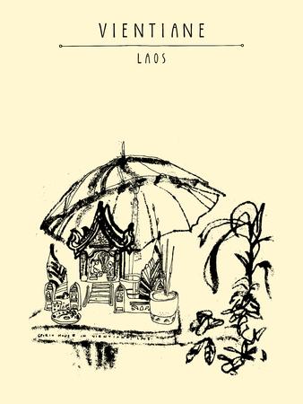 vintage postcard: Laos, Southeast Asia. Vintage hand drawn touristic postcard in vector