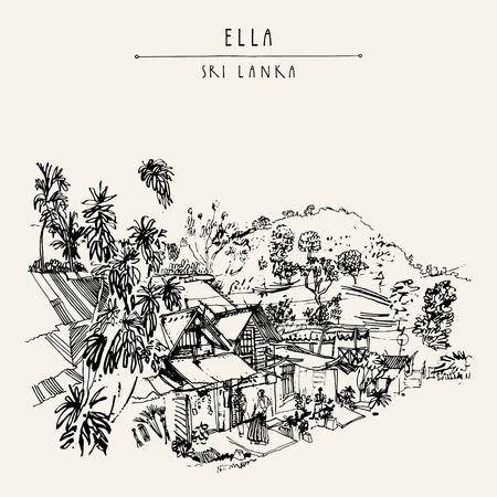 エラ村, スリランカ, アジアの通り。木の家は、サロンを身に着けている男します。旅行スケッチ。手描きのビンテージ帳イラスト、観光はがきまた