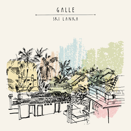 srilanka: Palm trees and roofs in Galle, Sri Lanka, Asia. Portuguese colonial architacture. Travel sketch. Hand-drawn vintage book illustration, touristic postcard or poster template in vector