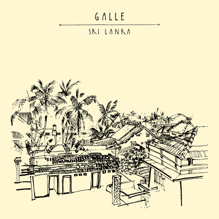 ceylon: Palm trees and roofs in Galle, Sri Lanka, Asia. Portuguese colonial architacture. Travel sketch. Hand-drawn vintage book illustration, touristic postcard or poster template in vector