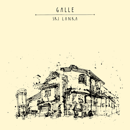 colonial house: Street corner in Galle, Sri Lanka, Asia. Ice-cream cart. Travel sketch. Hand-drawn vintage book illustration, touristic postcard or poster template in vector