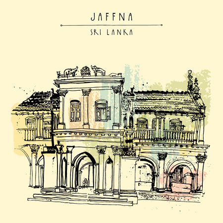 Beautiful old historic building in Jaffna, Sri Lanka, Asia. Travel sketch. Hand-drawn vintage book illustration, touristic postcard or poster template in vector