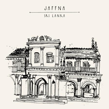 美しい古い歴史的な建物にジャフナ, スリランカ, アジアの。旅行スケッチ。手描きのビンテージ帳イラスト、観光はがきまたはベクトルのポスター   イラスト・ベクター素材