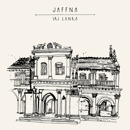Beautiful old historic building in Jaffna, Sri Lanka, Asia. Travel sketch. Hand-drawn vintage book illustration, touristic postcard or poster template in vector Illustration