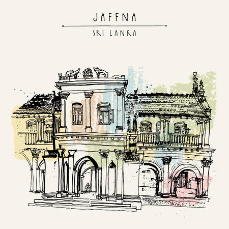 srilanka: Beautiful old historic building in Jaffna, Sri Lanka, Asia. Travel sketch. Hand-drawn vintage book illustration, touristic postcard or poster template in vector Illustration