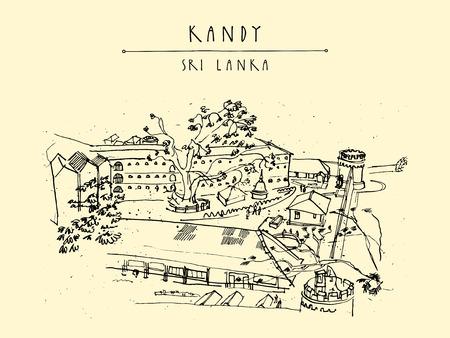 ceylon: Bogamara prison in Kandy, Sri Lanka, Asia. Upper view. Handdrawn vintage touristic postcard or poster in vector Illustration