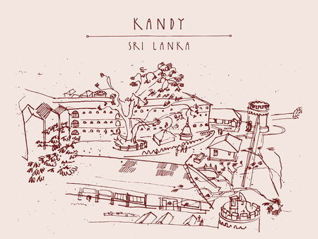 part prison: Bogamara prison in Kandy, Sri Lanka, Asia. Upper view. Handdrawn vintage touristic postcard or poster in vector Illustration