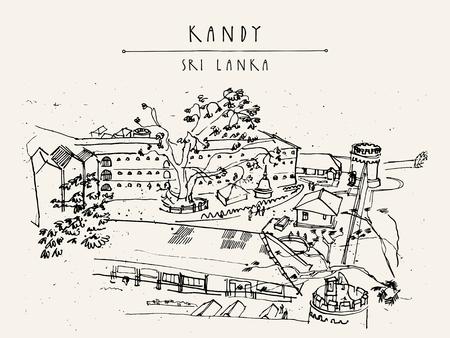 srilanka: Bogamara prison in Kandy, Sri Lanka, Asia. Upper view. Handdrawn vintage touristic postcard or poster in vector Illustration