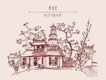 Hue, Vietnam, Southeast Asia. Thien Mu pagoda. Historic temple. Religious building. Former imperial capital's unofficial symbol. Artistic freehand drawing. Vintage postcard or poster in vector  イラスト・ベクター素材