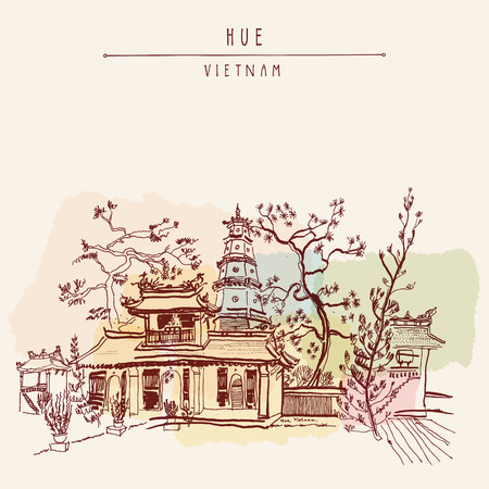 hue: Hue, Vietnam, Southeast Asia. Thien Mu pagoda. Historic temple. Religious building. Former imperial capitals unofficial symbol. Artistic freehand drawing. Vintage postcard or poster in vector Illustration