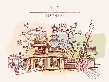 Hue, Vietnam, Southeast Asia. Thien Mu pagoda. Historic temple. Religious building. Former imperial capitals unofficial symbol. Artistic freehand drawing. Vintage postcard or poster in vector Illustration