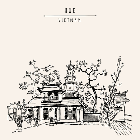 wander: Hue, Vietnam, Southeast Asia. Thien Mu pagoda. Historic temple. Religious building. Former imperial capitals unofficial symbol. Artistic freehand drawing. Vintage postcard or poster in vector Illustration