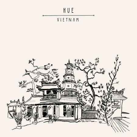 Hue, Vietnam, Zuid-Oost Azië. Thien Mu pagode. Historische tempel. Religieus gebouw. officieuze symbool voormalige keizerlijke hoofdstad. Artistieke de vrije hand tekening. Vintage ansichtkaart of poster in vector Stockfoto - 64872154