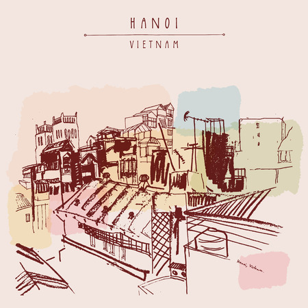Hanoi, Vietnam, Indochina. Roofs, residential buildings, Catholic church. Skyline, above view. Big city. Travel sketch. Vintage hand drawn artistic postcard, poster, book illustration in vector Vector Illustration