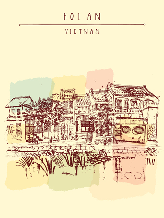 fishing village: Hoi An, ancient seaside fishing village, Vietnam. Old town riverside. Historic district. Waterfront houses, river. Hand drawn travel poster, banner, postcard or calendar page idea. Vector illustration Illustration