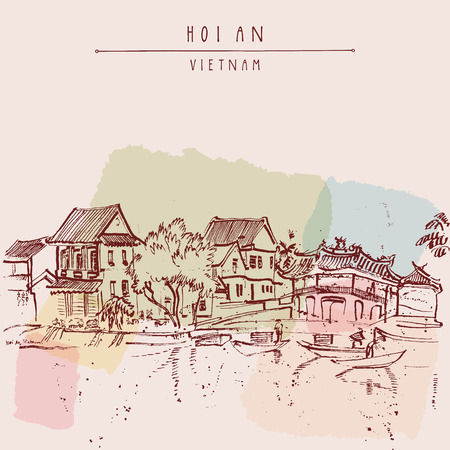 fishing village: Hoi An, ancient seaside fishing village, Vietnam. Old town riverside. Historic bridge. Waterfront houses, river. Hand drawn travel poster, banner, postcard or calendar page idea. Vector illustration Illustration
