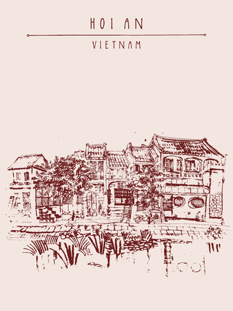 waterfront: Hoi An, ancient seaside fishing village, Vietnam. Old town riverside. Historic bridge. Waterfront houses, river. Hand drawn travel poster, banner, postcard or calendar page idea. Vector illustration Illustration