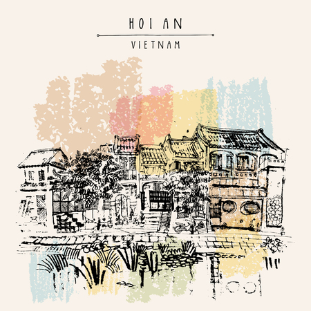 Hoi An, ancient seaside fishing village, Vietnam. Old town riverside. Historic district. Waterfront houses, river. Hand drawn travel poster, banner, postcard or calendar page idea. Vector illustration