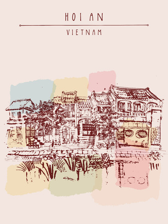 waterfront: Hoi An, ancient seaside fishing village, Vietnam. Old town riverside. Historic district. Waterfront houses, river. Hand drawn travel poster, banner, postcard or calendar page idea. Vector illustration Illustration