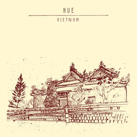 Hue, Vietnam. Citadel. Vintage drawing. Vietnamese travel poster, banner, postcard or calendar page illustration in vector 向量圖像