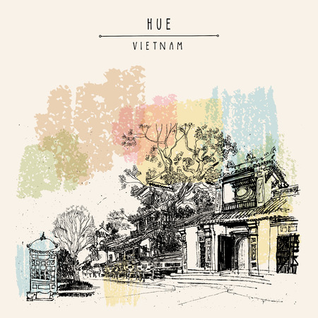 Hue, Vietnam, Southeast Asia. Temples and trees in Forbidden City. Traditional Vietnamese culture. Artistic postcard in vector Illustration