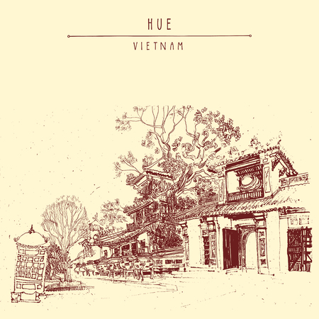 forbidden city: Hue, Vietnam, Southeast Asia. Temples and trees in Forbidden City. Traditional Vietnamese culture. Artistic postcard in vector Illustration