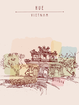forbidden city: Hue, Vietnam. Imperial Citadel gate. Forbidden City gate, trees, sculptures, moat, bridge, stone walls. Hand drawn touristic postcard, poster or book illustration in retro style. Vector