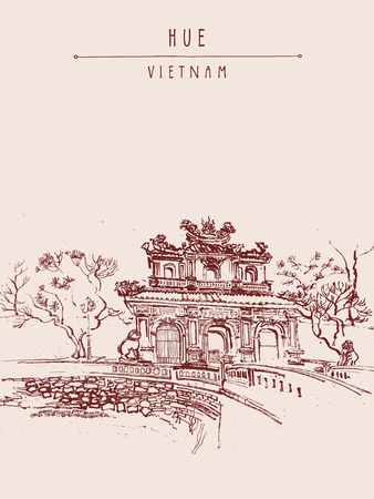 sculptures: Hue, Vietnam. Imperial Citadel gate. Forbidden City gate, trees, sculptures, moat, bridge, stone walls. Hand drawn touristic postcard, poster or book illustration in retro style. Vector