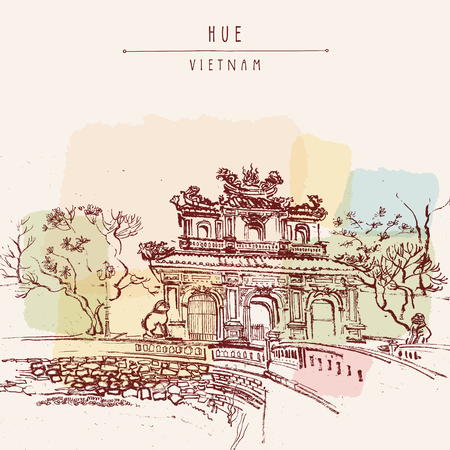 Hue, Vietnam. Imperial Citadel gate. Forbidden City gate, trees, sculptures, moat, bridge, stone walls. Hand drawn touristic postcard, poster or book illustration in retro style. Vector