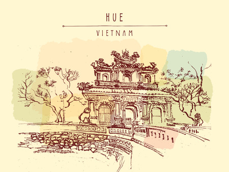 vietnam war: Hue, Vietnam. Imperial Citadel gate. Forbidden City gate, trees, sculptures, moat, bridge, stone walls. Hand drawn touristic postcard, poster or book illustration in retro style. Vector