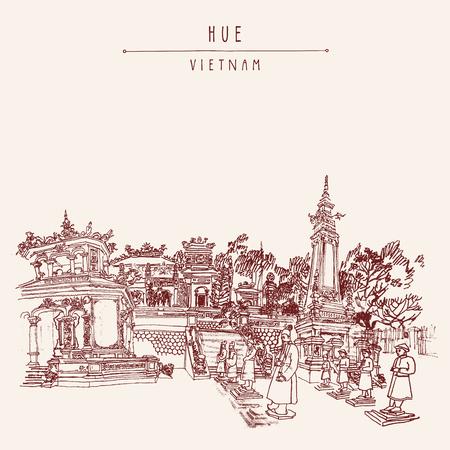 sculptures: Hue, Vietnam, Indochina. Tomb of Khai Dinh emperor. Sculptures of warriors, trees, traditional architecture. Vintage touristic postcard poster banner, calendar page idea. Vector illustration