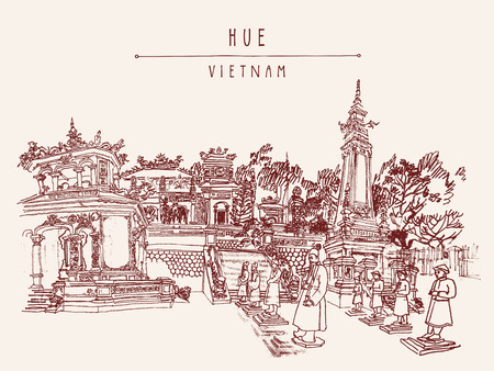 hue: Hue, Vietnam, Indochina. Tomb of Khai Dinh emperor. Sculptures of warriors, trees, traditional architecture. Vintage touristic postcard poster banner, calendar page idea. Vector illustration