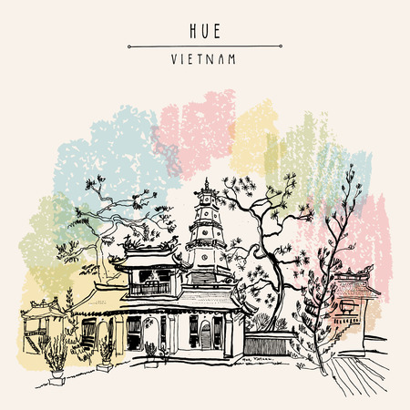 Hue, Vietnam, Southeast Asia. Thien Mu pagoda. Historic temple. Religious building. Former imperial capitals unofficial symbol. Artistic freehand drawing. Vintage postcard or poster in vector Ilustração