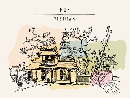 Hue, Vietnam, Southeast Asia. Thien Mu pagoda. Historic temple. Religious building. Former imperial capital's unofficial symbol. Artistic freehand drawing. Vintage postcard or poster in vector 向量圖像