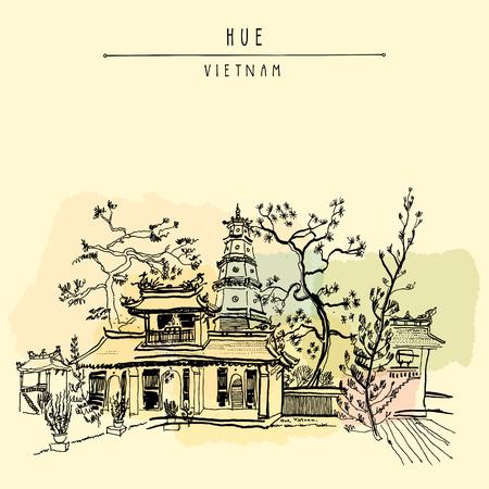 Hue, Vietnam, Südostasien. Thien Mu Pagode. Historische Tempel. Religiöse Gebäude. Der ehemalige Reichshauptstadt inoffizielle Symbol. Künstlerische Freihandzeichnen. Vintage Postkarte oder Poster in Vektor Standard-Bild - 64873083